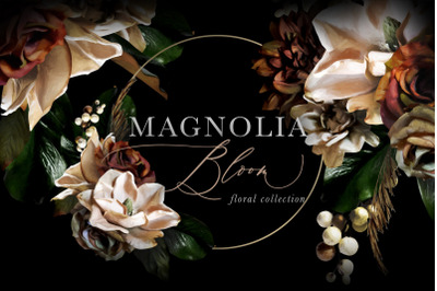 Magnolia Bloom Flowers & Monograms Clipart