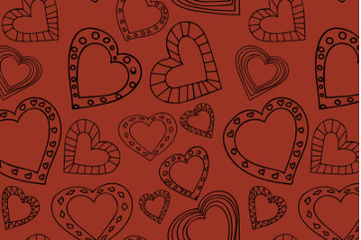 Doodle style hearts seamless pattern on terracotta background