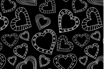 Doodle style hearts seamless pattern on black background