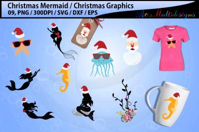 Mermaid christmas svg bundle