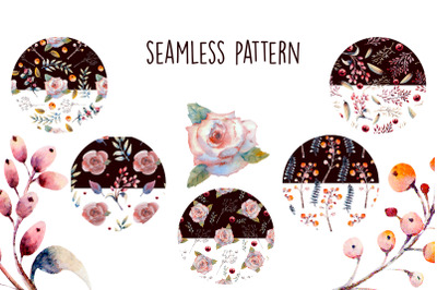 Seamless pattern. Pink rose flowers, green leaves, berries.