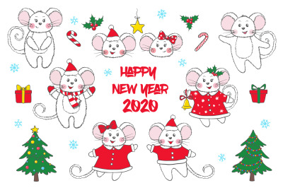 Set of cute hand drawn Mice and New Year symbols.