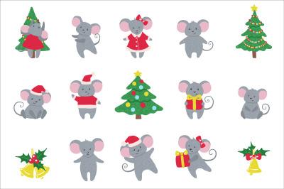 Set of cute hand drawn Mice and New Year symbols.