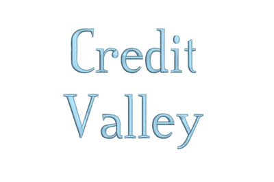 Credit Valley 15 sizes embroidery font (RLA)