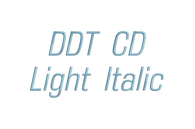 DDT CD Light Itaic 15 sizes embroidery font (RLA)