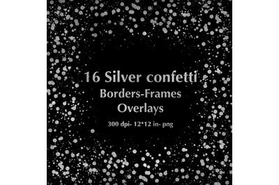 16 Silver Glitter Confetti Cliparts, Silver Glitter Frames, Silver Ove