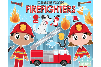 Firefighters Clipart - Lime and Kiwi Designs