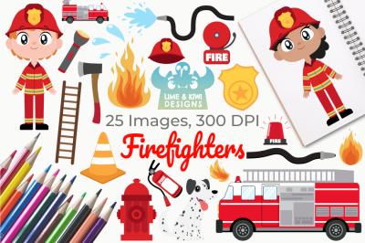 Firefighters Clipart, Instant Download Vector Art