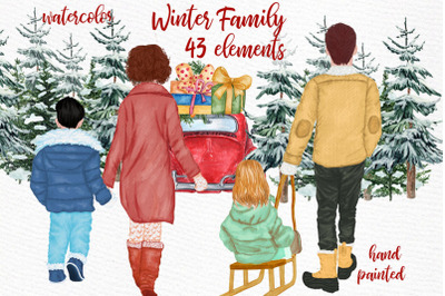 Winter Family Christmas Clipart Christmas Car Pine Tree Png