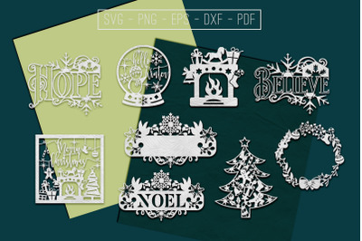 Christmas Papercut Templates Bundle, Xmas Tree Decor, DXF