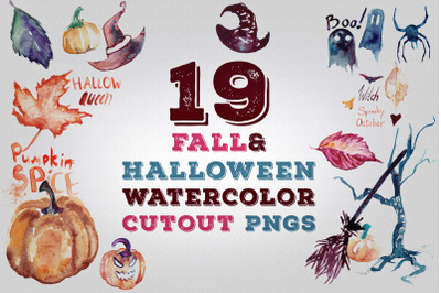 19 Fall and Halloween Watercolor Transparent Graphics Pngs