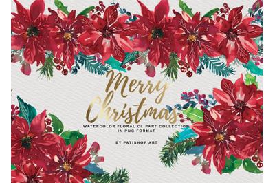 Watercolor Poinsettia Christmas Clipart  Collection