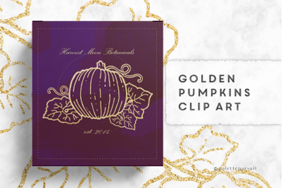 Golden pumpkins clip art, Autumn Halloween clipart