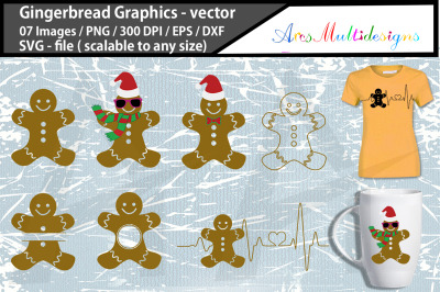 gingerbread svg graphics / gingerbread heartbeat