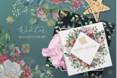 Watercolor Winter wedding bouquet clip art, Christmas floral border