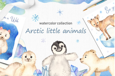 Arctic little animals watercolor collection clipart