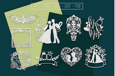 Wedding Paper Cut Templates Bundle, Marriage Sign SVG, DXF