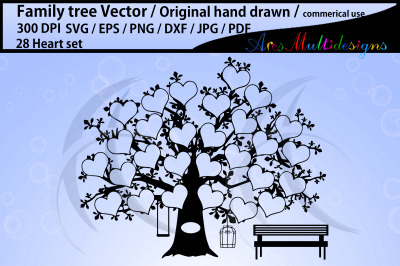 28 hearts family tree clipart SVG, EPS, Dxf, Png, Pdf, Jpg