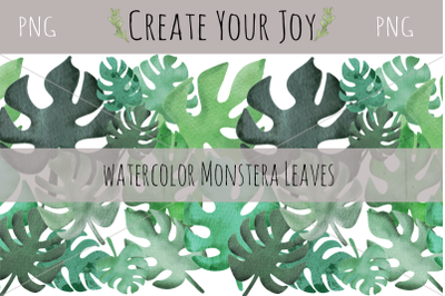 Watercolor Monstera Leaves | 9 PNG with seamless pattern