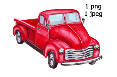 Red truck, watercolor