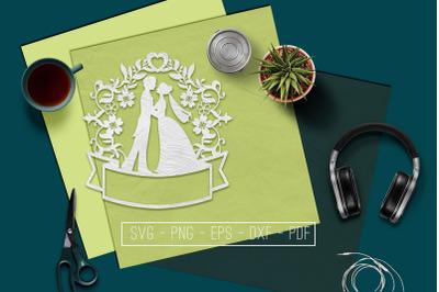 Customizable Wedding Papercut Template, Marriage SVG, PDF