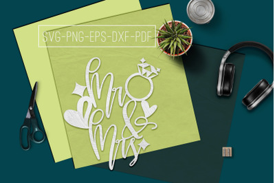 Mr And Mrs Papercut Template, Marriage Decor SVG, PDF, DXF