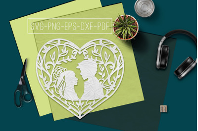 Wedding Heart Frame Papercut Template, Marriage SVG, PDF DXF