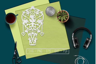 Wedding Hot Air Balloon Papercut Template, Marriage SVG, PDF