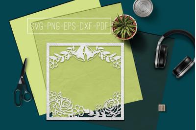 Wedding Frame Papercut Template, Marriage Decor SVG, PDF DXF