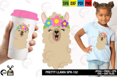 Llama Svg, Llama Face, Llama Head, Svg, Pretty llama svg, SPH-152