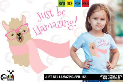 Llama Svg, Llama Face, Llama Head, Svg, just be Llamazing, SPH-155