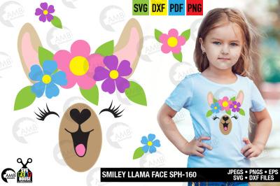 Llama Svg, Llama Face, Llama Head, Svg, Happy llama face svg, SPH-160