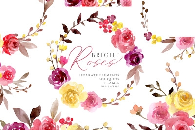 Bright Watercolor Flowers Roses and Arrangements