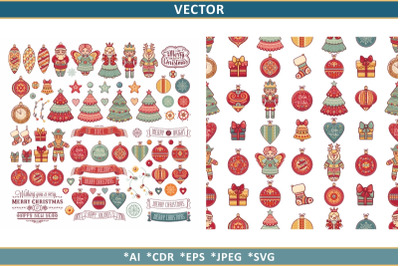 Christmas clipart and seamless pattern