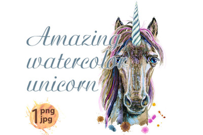 Watercolor portrait of a magical brown unicorn