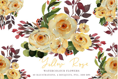 Watercolour Yellow rose, Greenery bouquet, PNG