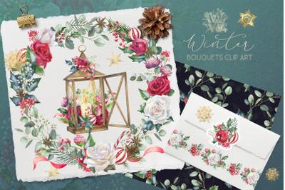 Christmas floral border clipart, Watercolor winter frame clip art