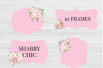 Shabby Chic Labels, Shabby Chic Frames, Pink Shabby Labels Romantic