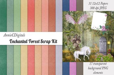 Scrapbook Paper&2C; Enchanted Forest Scrapbook Kit