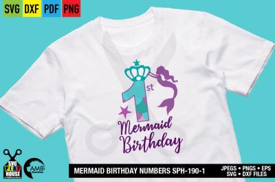 Mermaid Birthday numbers, First Birthday, Mermaid numbers SPH-190-1