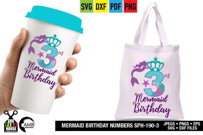 Mermaid Birthday numbers, Third Birthday, Mermaid numbers SPH-190-3