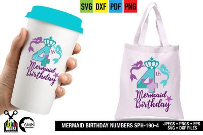 Mermaid Birthday numbers, Fourth Birthday, Mermaid numbers SPH-190-4