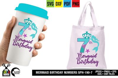 Mermaid Birthday numbers, seventh Birthday, Mermaid numbers SPH-190-7