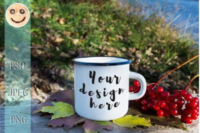 White campfire mug mockup with viburnum