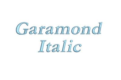 Garamond Italic 15 sizes embroidery font