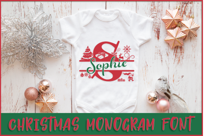 Christmas Monogram Font | Christmas Split Font
