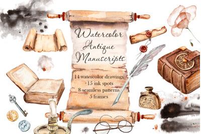 Watercolor ancient manuscript