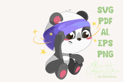 Sick Panda SVG download, Panda PNG, Cute baby animal Cut file, Pain He