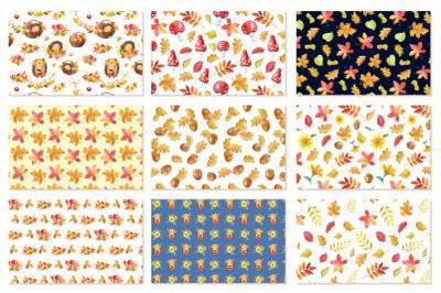 Autumn seamless patterns.