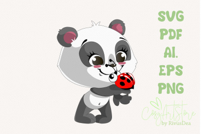 Smiling Panda SVG download, Ladybug Panda PNG, Cute baby animal Cut